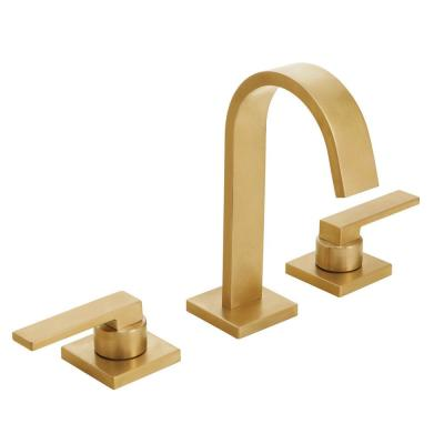 Lura 8 in. Widespread 2-Handle Bathroom Faucet with Push-Pop Drain Assembly in Satin Brass