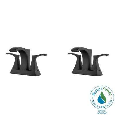 Venturi 4 in. Centerset 2-Handle Bathroom Faucet in Matte Black (2-Pack Combo)