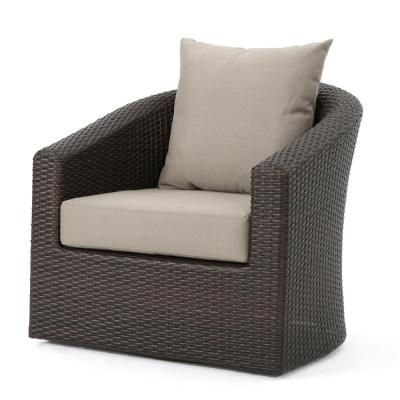 Mixed Brown Aluminum-Framed Wicker Outdoor Lounge Chair with Mixed Khaki Cushion