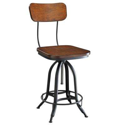 Mason 24 in. to 30 in. H Chestnut and Black Adjustable Stool
