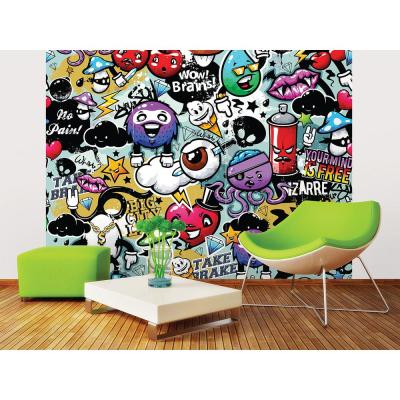 118 in. x 98 in. Graffiti Monster Wall Mural