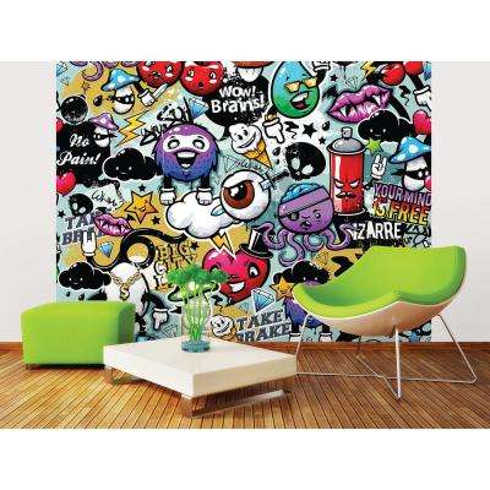 118 in. x 98 in. Graffiti Monster Wall Mural