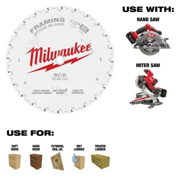 Milwaukee 7 1 4 In X 24 Tooth Framing Circular Saw Blade 48 40 0720 The Home Depot