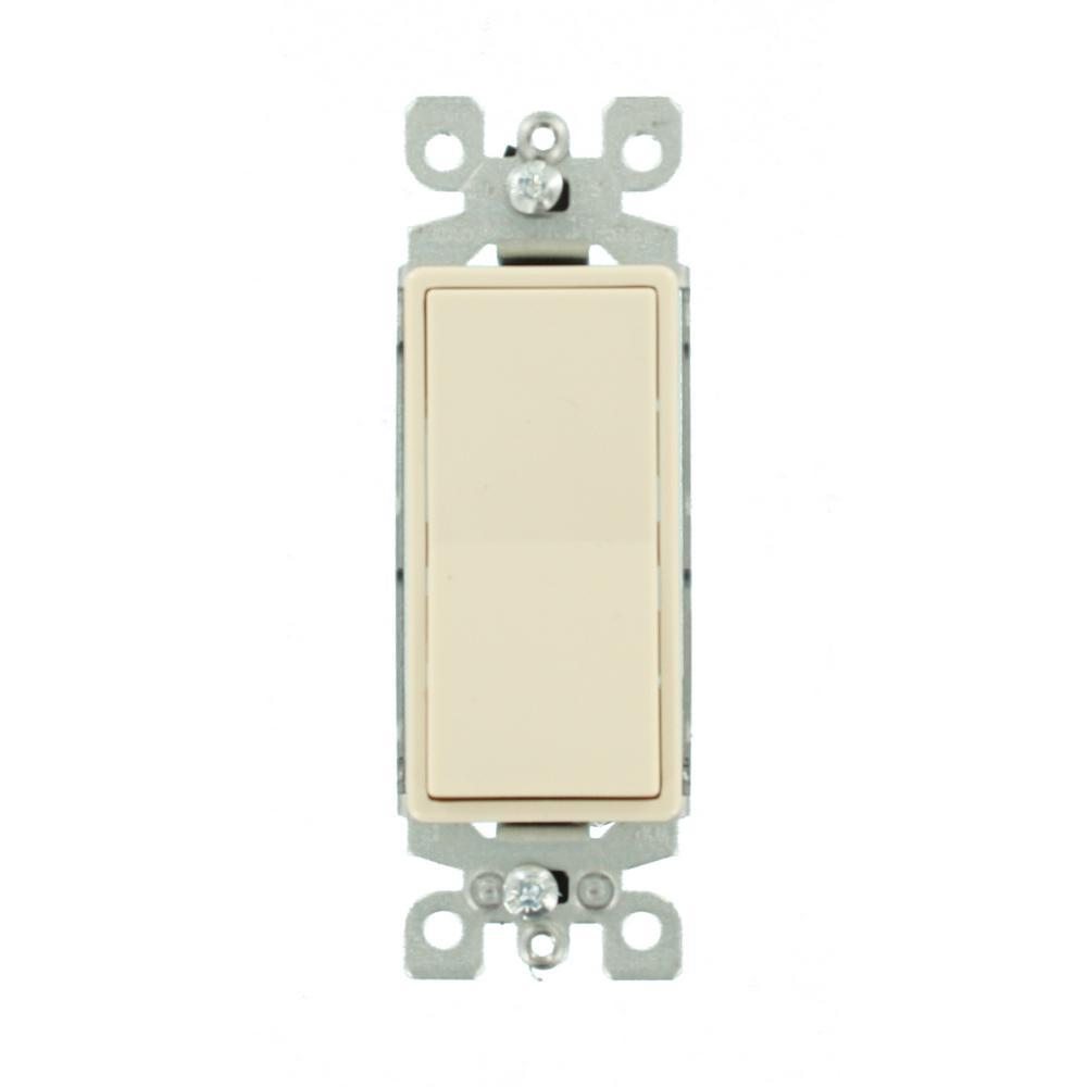 15 Amp 120/277-Volt Decora 1-Pole Residential Grade AC Quiet Illuminated Rocker Switch, Light Almond