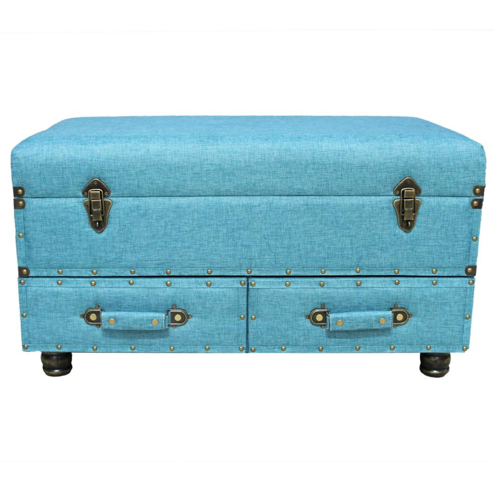 River Of Goods Blue Linen Layton Storage Trunk