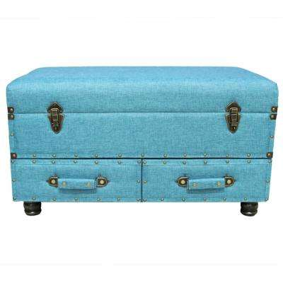 Blue Linen Layton Storage Trunk