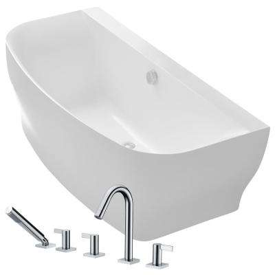 Bank 64.9 in. Acrylic Flatbottom Non-Whirlpool Bathtub in White with Snow Faucet in Polished Chrome