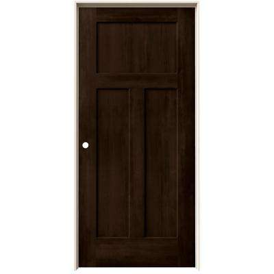 36 in. x 80 in. Craftsman Espresso Stain Right-Hand Molded Composite MDF Single Prehung Interior Door