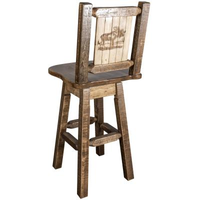 Homestead Collection 30 in. Early American Laser Engraved Moose Motif Bar Stool with Swivel Seat and Back