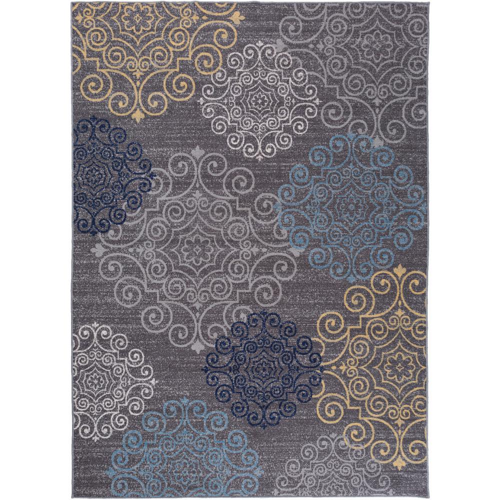 Modern floral swirl design non slip non skid gray area rug 8 ft x 10 ft 508 gray 8x10 the home depot