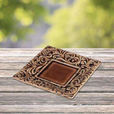 Saddle Brown Tooled Leather Square Plate