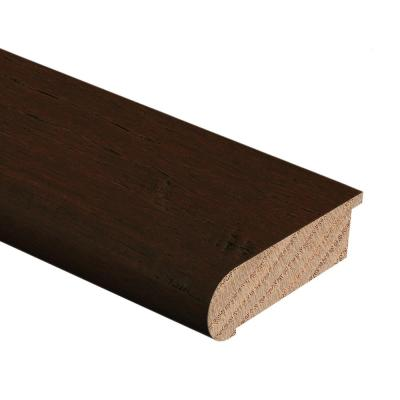Hand Scraped Strand Woven Bamboo Brown 1/2 in. Thick x 2-3/4 in. Wide x 94 in. Length Hardwood Stair Nose Molding Flush