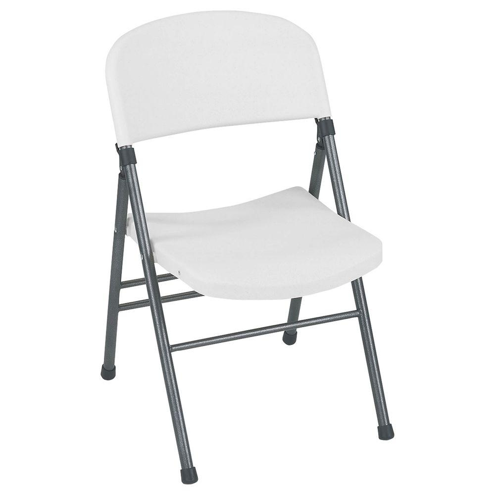 Resin Folding Chair With Molded Seat And Back In White Speckle