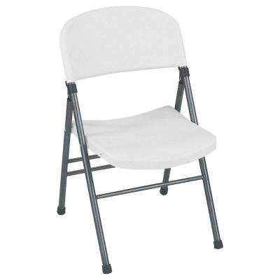 Resin Folding Chair with Molded Seat and Back in White Speckle (4-Pack)