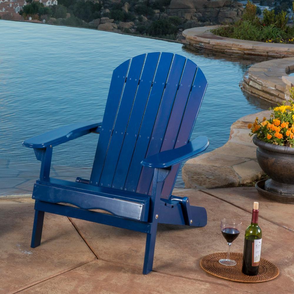 Hanlee Navy Blue Folding Wood Adirondack Chair