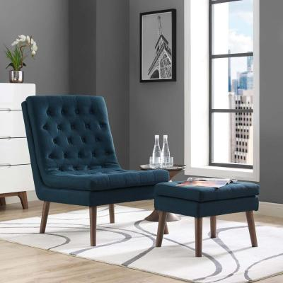 Modify Upholstered Lounge Chair and Ottoman in Azure