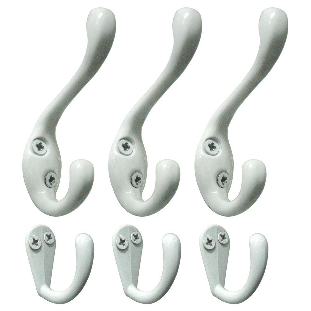 Richelieu Hardware Nystrom White Coat and Hat Double and Single Hook Value 6-Pack-DISCONTINUED