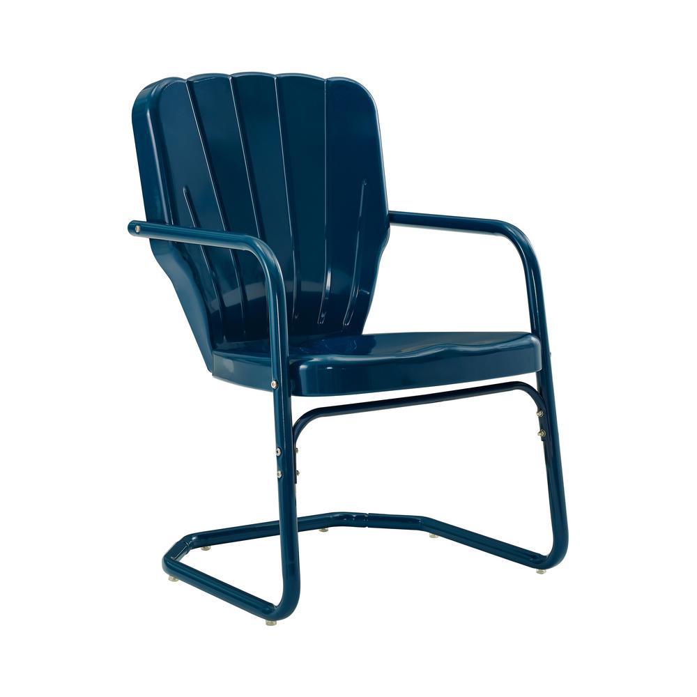 Ridgeland Navy Metal Outdoor Lounge Chair