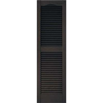 15 in. x 52 in. Louvered Vinyl Exterior Shutters Pair in #010 Musket Brown