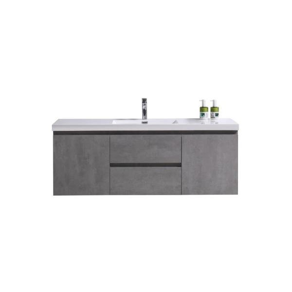 Bohemia 60 in. W Bath Vanity in Cement Gray with Reinforced Acrylic Vanity Top in White with White Basin