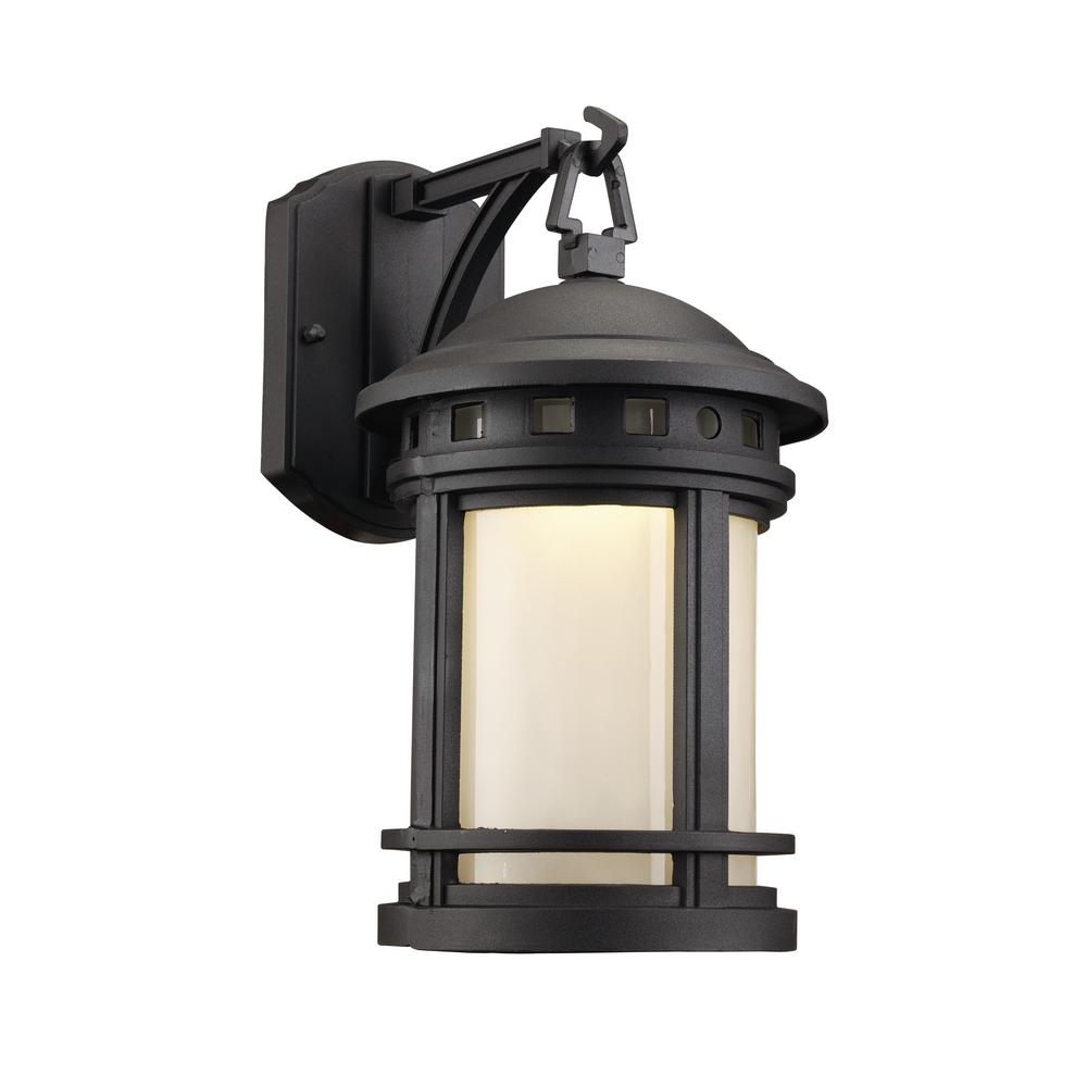 Home decorators collection oil rubbed bronze motion sensor outdoor integrated led medium wall for Exterior wall mounted lanterns