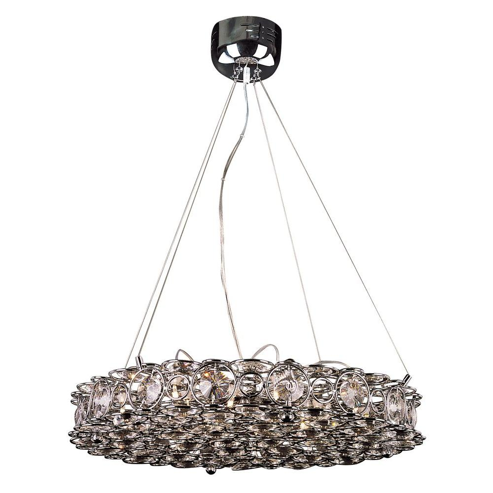 Bel Air Lighting 16-Light Polished Chrome Circles Pendant with Decorative Crystals