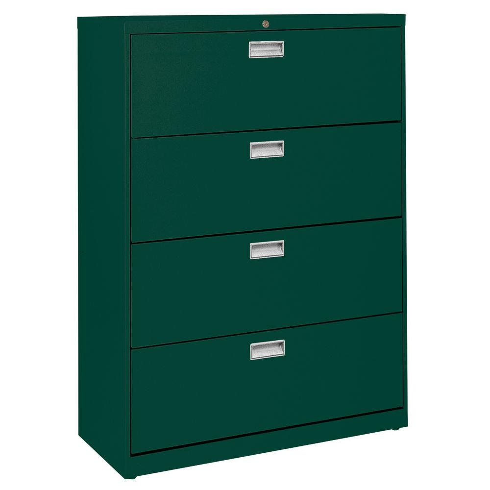 W 4 Drawer Lateral File Cabinet In Forest Green
