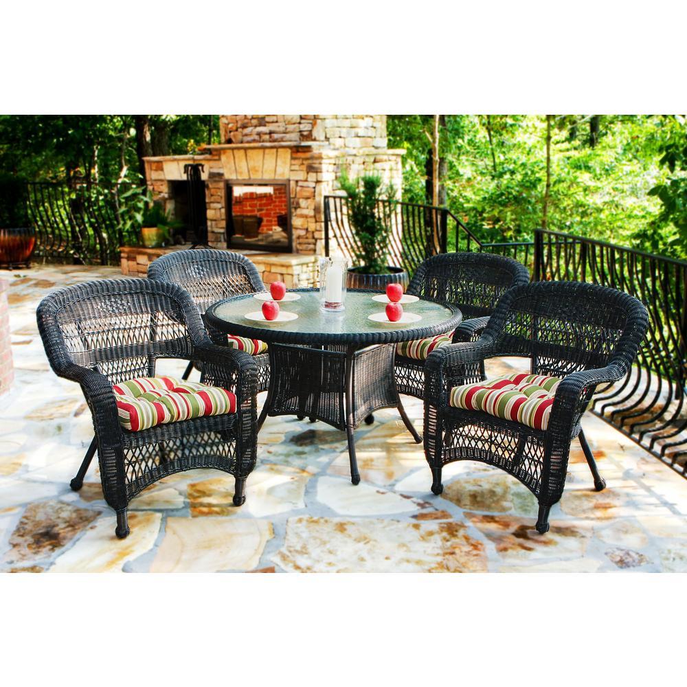Portside Dark Roast 5-Piece Wicker Outdoor Dining Set with Eastbay Pompeii Cushions