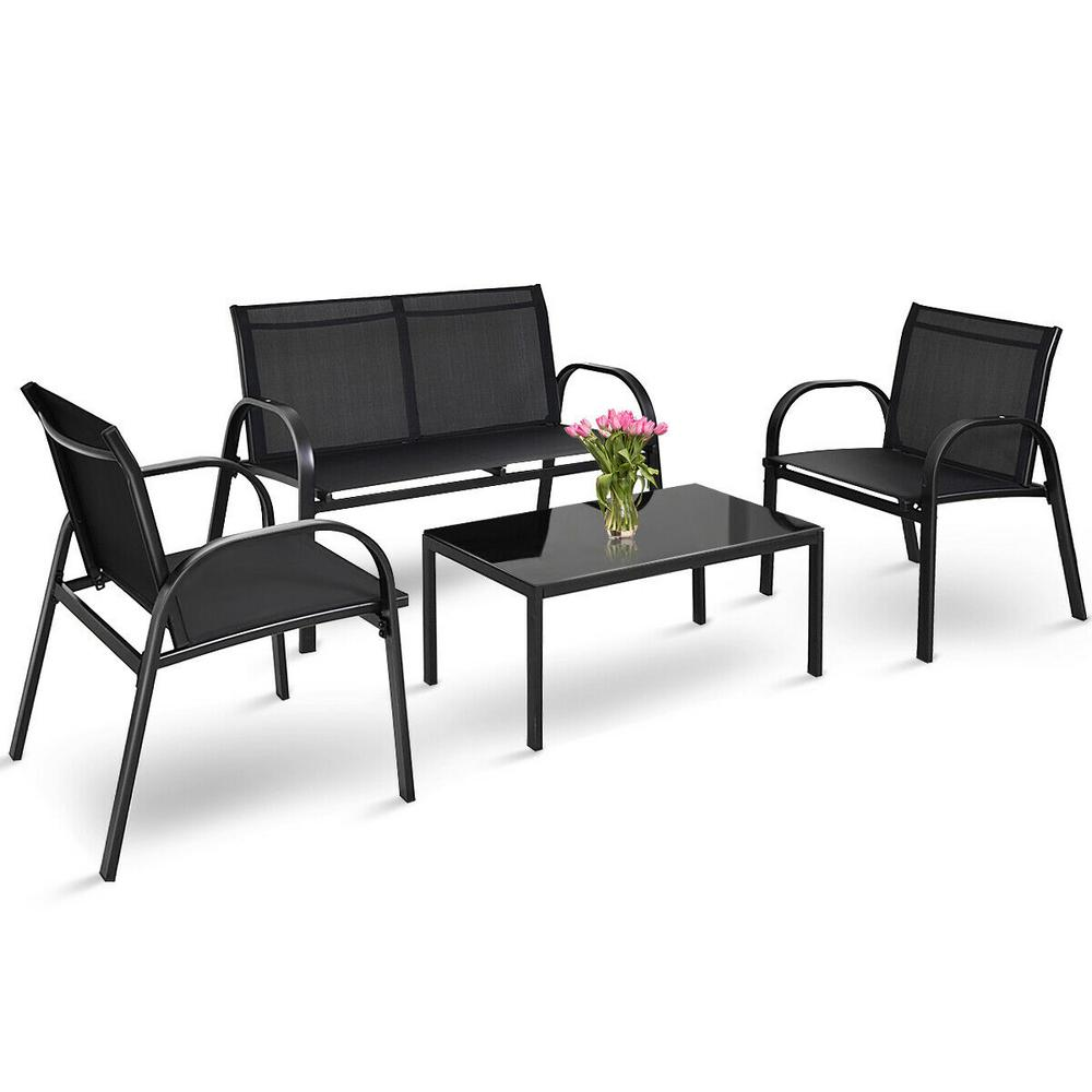 Costway 4 Piece Patio Furniture Conversation Sofa Set Coffee Table Steel Frame Garden Deck In Black