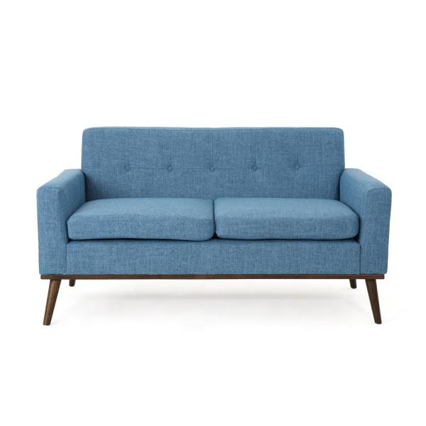 Noble House Stormi Mid-Century Modern 2-Seat Button Back Blue Fabric ...
