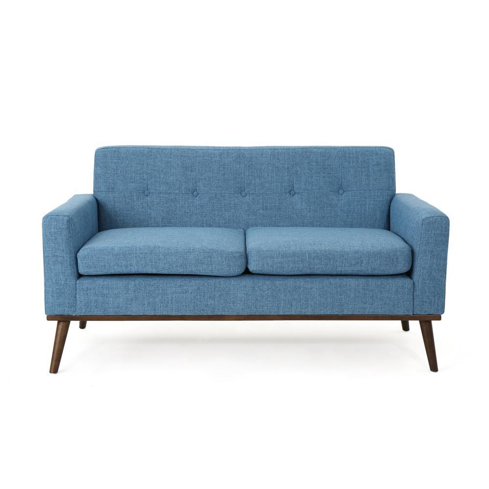 Stormi Mid-Century Modern 2-Seat Button Back Blue Fabric Sofa