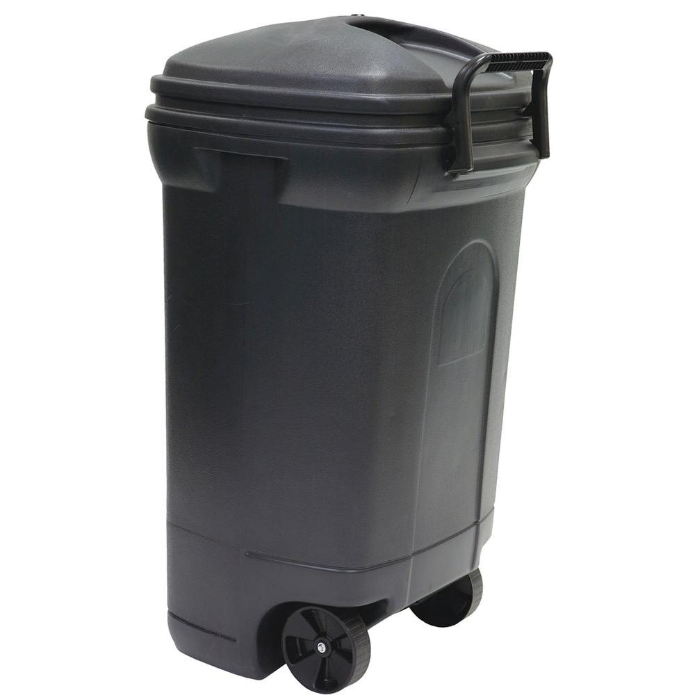 United Solutions 34 Gal. Plastic Wheeled Outdoor Trash Ca...
