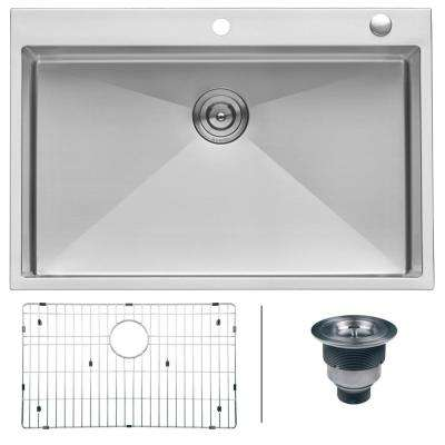 Drop-In Stainless Steel 33 in. Topmount Tight Radius 16-Gauge Kitchen Sink Single Bowl