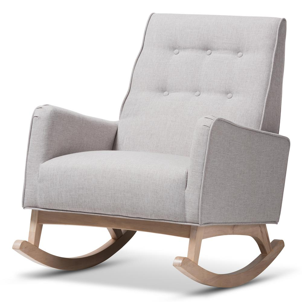 Marlena Light Gray Fabric Rocking Chair