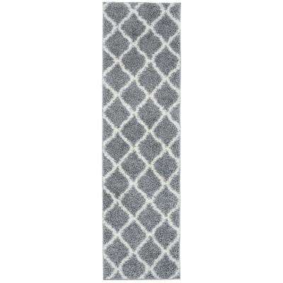 "Moroccan Geometric Shag Gray Cream Area Rug Runner (2'x7'2"")"