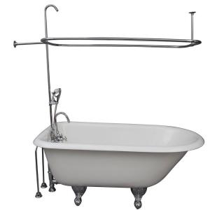 Barclay Products 4.5 ft. Cast Iron Ball and Claw Feet Roll Top Tub in White with Polished Chrome Accessories by Barclay Products