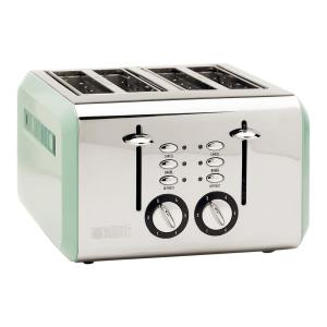 Cotswold 1500-Watt 4-Slice Wide Slot Sage Green Retro Toaster with Removable Crumb Tray and Adjustable Settings