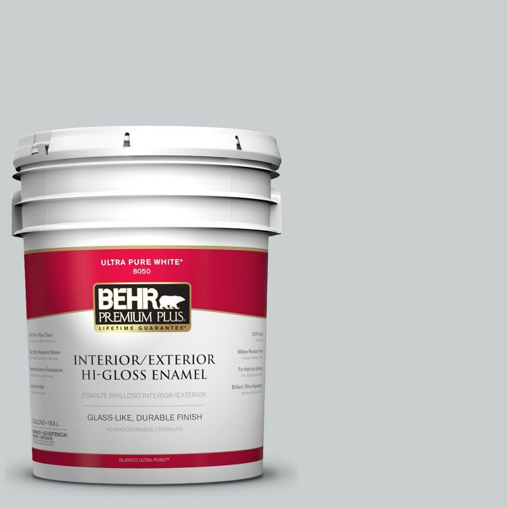 BEHR Premium Plus 5-gal. #PPF-17 Foggy Morn Hi-Gloss Enamel Interior/Exterior Paint