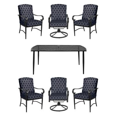Oak Cliff Brown 7-Piece Steel Outdoor Dining Set w/4 Stationary, 2 Swivel Chairs, CushionGuard Midnight Trellis Cushions