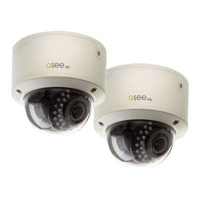 Wired 1080p HD Indoor Outdoor Dome Camera with Auto-Focus (2-Pack)