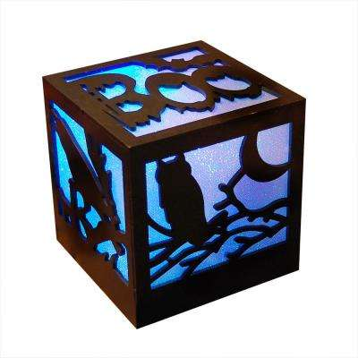 4.75 in. Halloween Wooden Lantern with Multi-Color Light