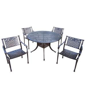 Click here to buy  Rose 5-Piece Cast Metal Cast Aluminum Structured Patio Dining Set with Round Table and 4....