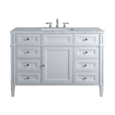 Anastasia French 48 in.White Single Sink Bathroom Vanity with Marble Vanity Top and White Basin
