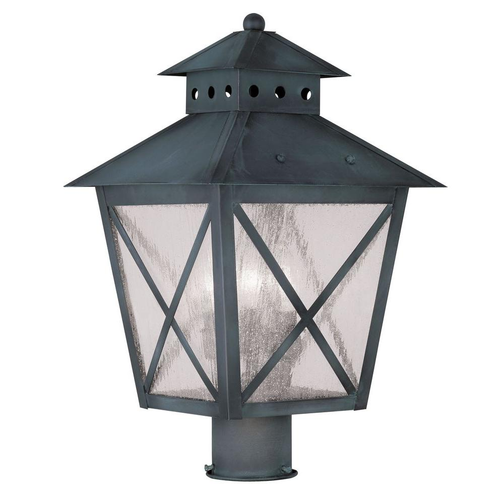 Livex Lighting Providence 3-Light 13 in. Outdoor Charcoal Post Head Lantern