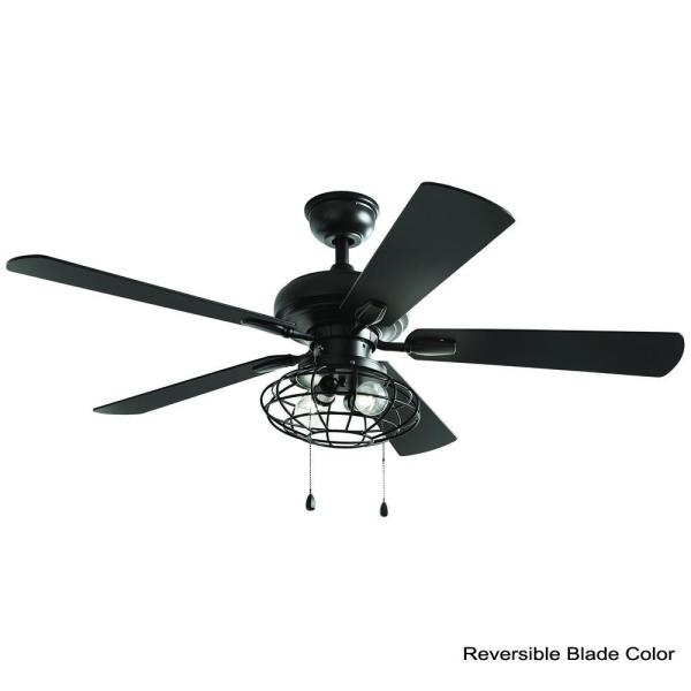 Home Decorators Collection Ellard 52 In Led Indoor Matte Black Ceiling Fan With Light Yg629a Mbk The Home Depot