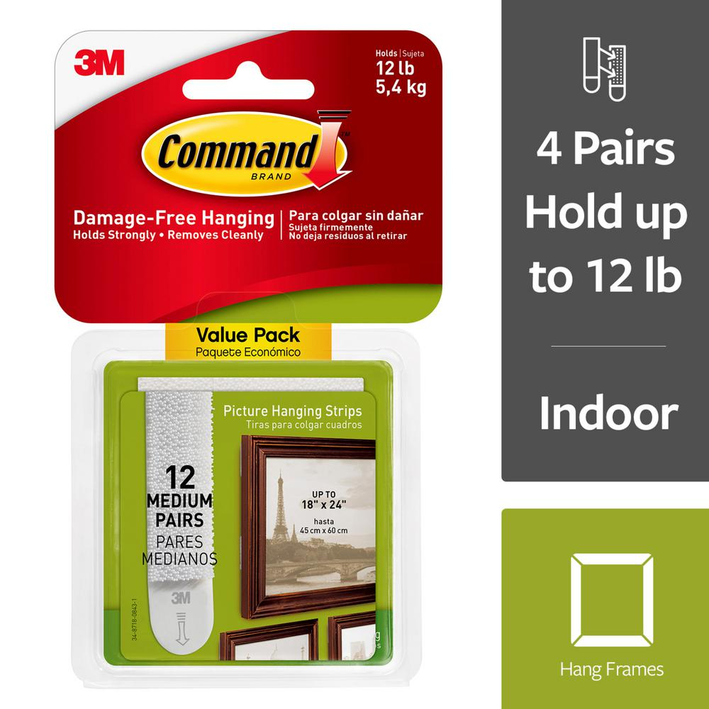 Command 3 lb. Medium White Picture Hanging Adhesive Strips (12 sets of Adhesive Strips)