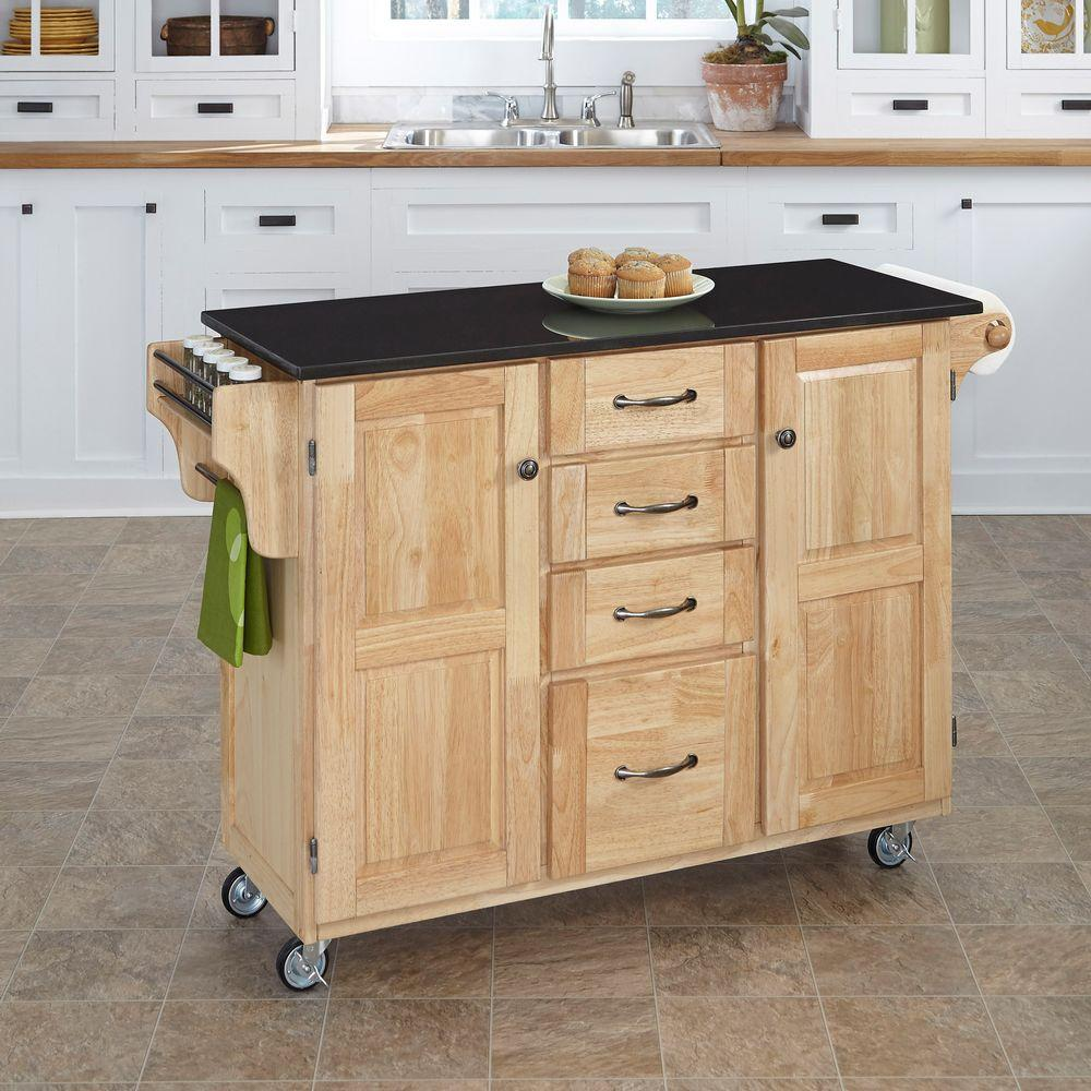 Black Granite Top Kitchen Trolley