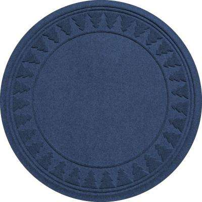 Navy 35 in. Round Pine Trees Under the Tree Mat