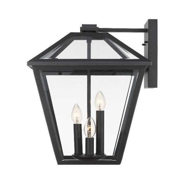 Filament Design 3 Light Black Outdoor Wall Sconce With Clear Beveled Glass Hd Te43584 The Home Depot