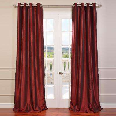 Ruby Red Grommet Blackout Vintage Textured Faux Dupioni Silk Curtain - 50 in. W x 96 in. L